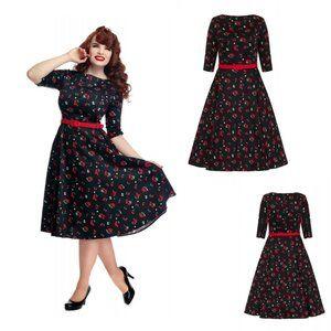 Suzanne Cherries & Blossom Swing Dress
